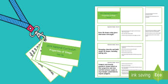 Lanyard Sized Year Six Properties of Shape Objectives Cards - year 6, year six, y6, objectives, properties of shape, geometry, angles, measuring angles, missing a