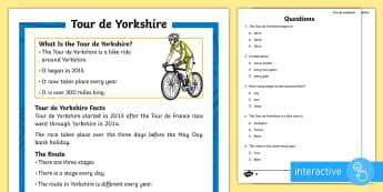 KS1 Tour de Yorkshire Differentiated Comprehension Go Respond  Activity Sheets - Tour De Yorkshire, Yorkshire, Tour De France, Bicycle, Bike, Cycle, Cyclist, Competition, Rider, Rid