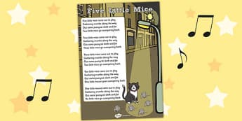 Five Little Mice Counting Song Sheet - Mice, Song, Count, Sheet