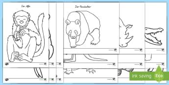 Zootiere Ausmalbilder - Ausmalbilder, ausmalen, Zootiere, Zoo, Tiere, Tiger, Elefant, Buntstifte, Feinmotorik,German