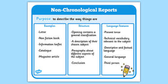 Features of Non Chronological Reports Poster - non-chronological reports, non chronological reports poster, how to write a non chonological report, ks2
