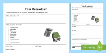 Task Breakdown Planning Template - Task breakdown, planning, independent, LSA Support, independent working