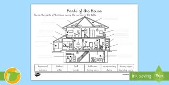 Ficha de actividad: Las partes de la casa - Inglés - house, hogar, vocabulario, lengua extranjera, inglés, english,Spanish-translation