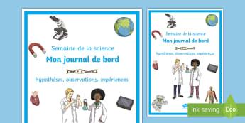 Couverture de cahier : Semaine de la science -  fête des sciences, expériences scientifiques, affiches, affichage, poster, cycle 2, cycle 3