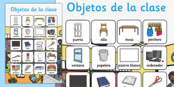 Objetos de la clase Vocabulary Poster Spanish - spanish, classroom, objects, vocabulary, poster, display