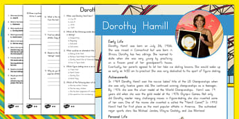 US Olympians: Dorothy Hamill Differentiated Reading Comprehension Activity