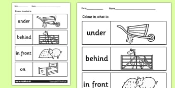 Farm Colour the Prepositions Worksheet - position, farm, animals, prepositions