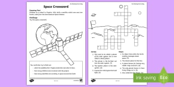 Space Crossword - amazing fact august, planets, satellites, solar system, KS1, worksheet