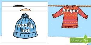 Winter Clothing Words on Pictures Display Bunting
