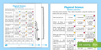 Year 2 Physical Science Questions and Colouring Activity Sheets - australian science, ACSSU033, Deformation, gravity, push pull, forces,Australia, Worksheets