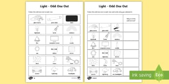 Light Odd One Out Differentiated Activity Sheet - worksheet, ACSSU020, ACSIS027, Science Inquiry Skills, matching, opposites, light energy,Australia