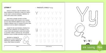 Învățăm litera Y Broșură cu activități - litera Y, litere, alfabet, alfabetul, clasa pregătitoare, broșură cu activități, broșură,Roma