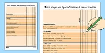 1999 Curriculum Junior Infants Maths Shape and Space - roi, irish, gaeilge, assessment, checklist, maths, junior infants, shape and space