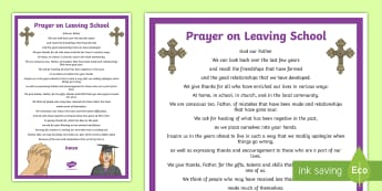 Prayer on Leaving School A4 Display Poster - prayer, graduation, leaving, school, sixth class, grad,Irish
