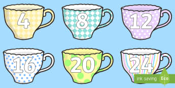 4 Times Tables on Teacups Cut-Outs - Numbers 10 120 on Teacups - Numbers 10-120, numberline 10-100, numberlines, numbers on teacups, fun