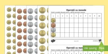 Operații cu monede - Fișă de lucru - bani, monede, înmulțire, adunare repetată, matematică, fișe, exerciții, suport vizual, Romania