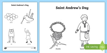 Saint Andrew's Day Word and Pictures Colouring Page