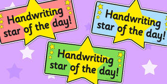 Handwriting Star Badge - reward, award, writing, hand writing