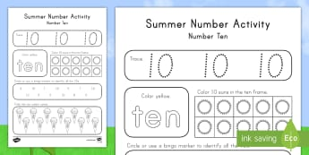 Summer Number Ten Activity Sheet - Summer, summer season, first day of summer, summer vacation, summertime, number recognition, number