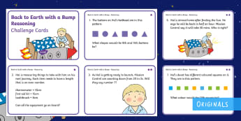 Year 1  Back to Earth with a Bump Reasoning Differentiated Maths Challenge Cards  - Back to Earth with a Bump, space, planets, night and day, dark, sun, Mars, moon, stories, picture bo