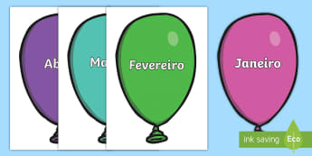 Meses do ano em balões - dia, semana, mes, dias, semanas, meses, ano, anos, tempo, estacao, estacoes, gestao, sala de aula, c