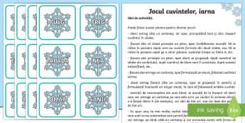 Jocul cuvintelor iarna Cartonașe cu cuvinte - Winter, iarna, romanian, fulgi, cuvinte, vocabular, idei, limba română, comunicare în limba româ