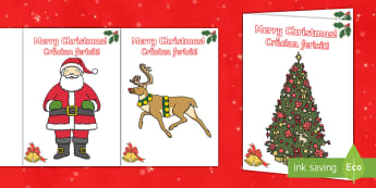 Christmas Cards English/Romanian - Christmas Card Templates - EAL, Christmas, xmas, card template, card, editable, tree, advent, nativi