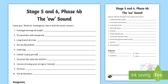 Northern Ireland Linguistic Phonics, Stage 5 and 6, Phase 4b, 'ow' Sound Word Work Activity Sheet - NI, Linguistic Phonics, Stage 5, Stage 6, Phase 4b, Northern Ireland, Worksheet, 'ow' sound, wor