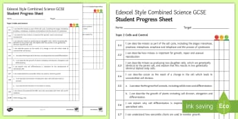 Edexcel Style Combined Science Cells and Control Progress Sheet  - Cell, cells, control, cell cycle, mitosis, cancer, growth, cell division, stem cell, stem cells, ner
