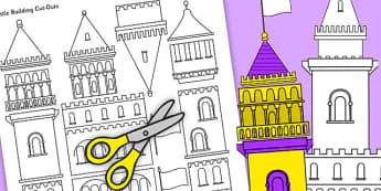 Castle Building Cut Outs - castle, buildings, cut outs, display