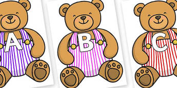 A-Z Alphabet on Dugaree Teddy - A-Z, A4, display, Alphabet frieze, Display letters, Letter posters, A-Z letters, Alphabet flashcards