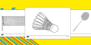 The Olympics Badminton Colouring Sheets - Badminton, Olympics, Olympic Games, sports, Olympic, London, 2012, colouring, fine motor skills, poster, worksheet, vines, A4, display, activity, Olympic torch, events, flag, countries, medal, Olympic Rings,