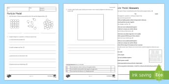 Particle Model Homework Activity Sheet - Homework, worksheet, particle, particle model, states of matter, solid, liquid, gas, particles, prop