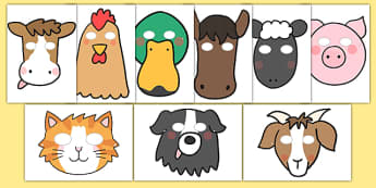 Farm Role Play Masks - Farm, animals, animal, Role Play, mask, pig, cow, chicken, goat, sheep, hay, milk, eggs