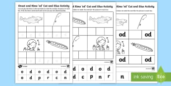 Onset and Rime 'od' Cut and Glue Differentiated Activity Sheets - EYLF, Literacy, phonological awareness, onset and rime, cvc words, english, kindergarten, pre-primar