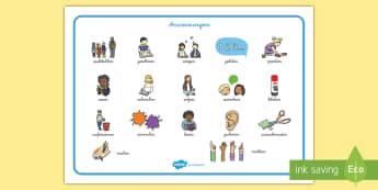 Anweisungen in der Schule Wortschatz: Querformat - Wortschatz, Schreibhilfe, Lernhilfe, lesen, schreiben, malen, zeichnen, zuhören,German
