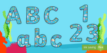 Under the Sea Themed Display Lettering 2 Per A4 - display, letter