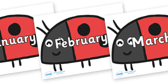 Months of the Year on Ladybird to Support Teaching on What the Ladybird Heard - Months of the Year, Months poster, Months display, display, poster, frieze, Months, month, January, February, March, April, May, June, July, August, September