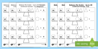 Balance the Scales Differentiated Activity Sheets English/Romanian - measure, weigh, Addition, subtraction, balance, eal