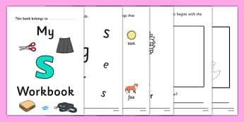 My Workbook s lowercase - workbook, s sound, lowercase, letters, alphabet, activity, handwriting, writing