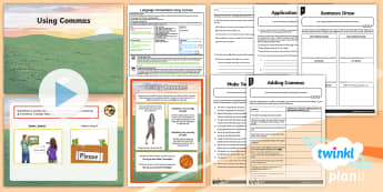 Y6 Language Conventions: Using Commas Lesson Pack - PlanIt Y6 Language Conventions: Using Commas Lesson Pack, ACELA1521, text structure and organisation