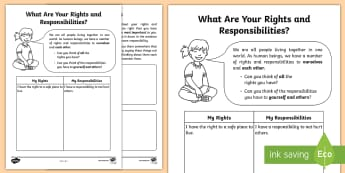 What Are Your Rights and Responsibilities? Activity Sheet - worth, young people, families, wellbeing, PSHCE, worksheet, seal, behaviour