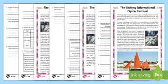 The Galway International Oyster Festival Differentiated Reading Comprehension Activity - ROI, Irish Events, Worksheet, traditions, celebration, ,Irish