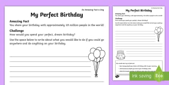 My Perfect Birthday Activity Sheet - Amazing Fact Of The Day, activity sheets, powerpoint, starter, morning activity, March, birthday, pe