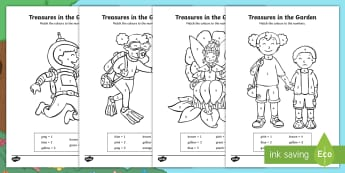 Treasures in the Garden Colour by Number - numbers, total, picture, pattern, find