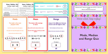 Mean, Mode, Median and Range - SEO Ranking Maths Resources, maths, numeracy, mean, mod, median, range, average, difference, data-ha