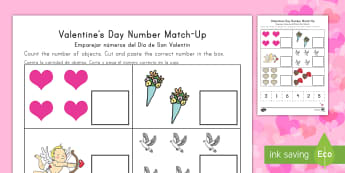 Valentine's Day Number Match Up Activity Sheet Us English/Spanish (Latin) - Valentine's Day USA, Number Match-Up, Math, Cut and Paste, elementary school, kindergarten, One-to-