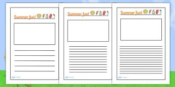 Summer Fun Writing Frames - summer writing frames, summer fun, writing frames, summer fun writing frames, summer time writing frames