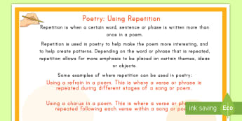 Poetry: Using Repetition Display Poster - poetry, repetition, Literacy, English, display, poster,