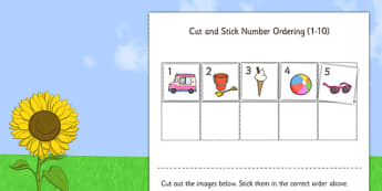 Summer Themed Cut and Stick Number Ordering Sheets 1-10 - number